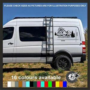 Large Adventure Vinyl Sticker Camper Van Motorhome Decal Mountain Compass wall