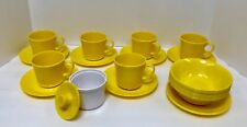 NEW VTG 24 SET Dishes Texas Ware Melmac Melamine Bowls Cups Saucer Bowl Yellow