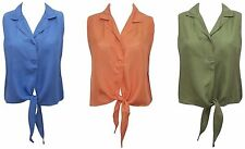 New Pure Silk SleevelessTie Front Cropped Shirt in 3 Colours Size 12, 14, 16