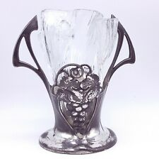 Art Nouveau WMF Jugendstil silverplated pewter glass vase.