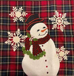 Pottery barn Snowman PLAID CREWEL Pillow Cover 20x20 Christmas - Holiday
