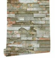 3D Faux Stone Wallpaper Peel and Stick Walpaper Oliva/Rusty/Black Contact Paper