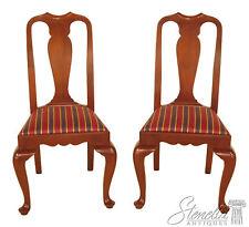 L46397: Pair HENKEL HARRIS Queen Anne Cherry Dining Room Side Chairs Model #109