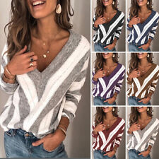 Women Knit Long Sleeve Pullover Striped Sweater Jumper V-Neck Sexy Warm Tops