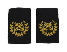 Bosun Epaulette Crossed Anchors with Wreath Embroidered Gold Bullion Black Felt