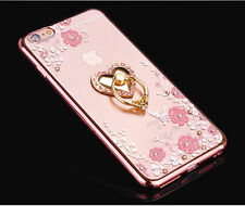 Luxury Crystal Diamond Silicone TPU Clear Soft Slim KickStand Ring Case Cover