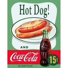 Coca Cola Bottle and Hot Dog Classic Poster Ad Tin Sign Reproduction NEW UNUSED