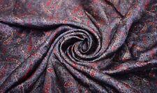 Vintage Gray Saree 100% Pure Crepe Silk Printed Premium Sari Craft Fabric 5yd