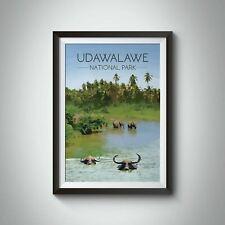 More details for udawalawe national park travel poster, sri lanka - framed - bucket list prints