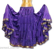 PURPLE SKIRT w/ GOLD SARI BORDER, 7 YARDS, BELLY DANCE BOHO GYPSY BEACH INDIA