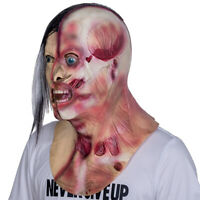 Halloween Adult Zombie Mask Face Latex Bloody Scary Costumes Party Cosplay Props