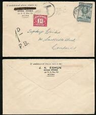 GOLD COAST to GB POSTAGE DUE 2d + 1d DUE 1947 HOME STORE ENVELOPE