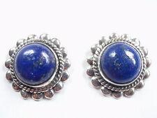 Lapis Lazuli Round 925 Sterling Silver Stud Earrings Medium Large