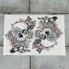 Skull And Flowers Vinyl Sticker Decal Car Van Bike - 111mm x 140mm - SKU5466