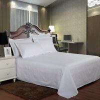 Cotton Satin Striped Bed Sheet Flat Sheet Top Sheet Hotel Queen King White Gray
