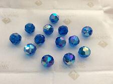 12 Swarovski #5000 10mm Crystal Capri Blue AB Faceted Round Beads