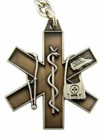 Pewter Medical Alert Symbol with Caduceus Snake on Rod Key Chain, 1 3/4 Inch