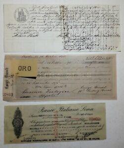 Lotto n. 3 Assegni bancari del 1878, 1896 e 1936 (H29) Come da foto
