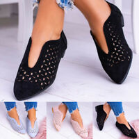 Women's Fashion Casual V-Type Hollow-Out Flats Pointed Toe Slip-On Single Shoes