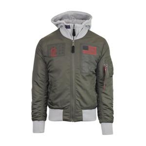Alpha Industries MA-1 D-Tec Blood Chit Flight Jacket Men's Olive Grey Outwear