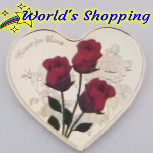 Heart Shape Roses For Love Coin With Love Written In Various Languages