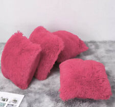 "4 X Faux Fur Cushion Cover Soft Pink Furry Fur Pillow Cushion Covers 17"" x 17"""