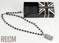 Butler & Wilson Silver Skulls & Black Rosary Necklace with box