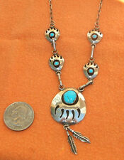 Sterling Silver Turquoise Necklace RING EARRINGS South Western Bear Claws