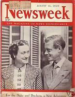 1940 Newsweek August 12- Vanderbilt; Duke of Windsor