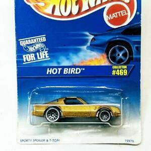 1995 Hot Wheels Blue Card Gold Hot Bird T-Top Black Interior LW Collector #469