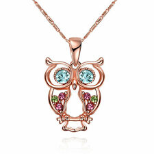Rose Gold Plated Cute Crystal Owl Pendant Necklace Women Party/gifts AKN061