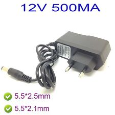 AC 100-240V Converter Adapter DC 12V 500mA 0.5A Power Supply 5.5 x 2.1MM EU Plug