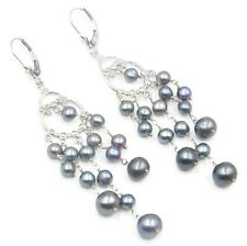 Freshwater Pearl Black Chandelier Earrings,14K White Gold Leverbacks