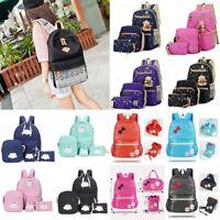 3Pcs Women Girls Travel Canvas Rucksack Backpack Tote School Shoulder Bag Gifts