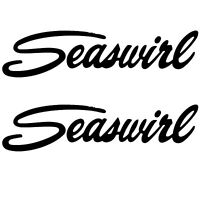 -2- SEASWIRL BOAT BLACK Vinyl Decals Sticker PAIR L@@K Ski Wakeboard Tube Emblem