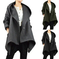 Hiver Femme Manteau Ample Manche Longue Chaud à capuche Asymétrique Vestes Plus