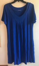 FRESH PRODUCE Royal Blue Rayon/Lycra Summer Short Sleeve DRESS Sz L POCKETS