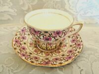 Rare QUEEN'S ROSINA 4965 Bone China Tea Cup &Saucer- Made in England-Estate Item