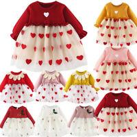 Toddler Baby Girls Long Sleeve Dress Kids Princess Pageant Party Tutu Dresses US