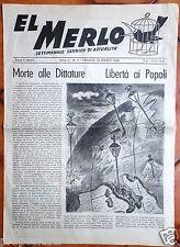 gx 06 Trieste EL MERLO Periodico satirico di attualità - 16 marzo 1946 Anno II°