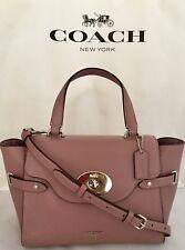 COACH F32106 Bubble Leather Blake Flap Carryall Satchel Bag SV/Dusty Rose NWT