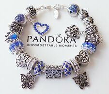 Authentic PANDORA Silver Bracelet with European Charms Beads Family Mom Wife