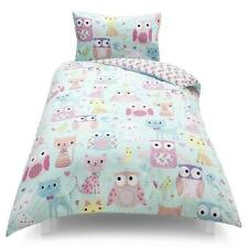 KIDS GIRLS CATS & OWLS PRINT  DUVET COVER SET SINGLE BED  BNIP