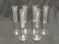 """LOT OF 6 FOOTED CLEAR GLASS BUD FLOWER VASES 7"""" TALL ROUND"""