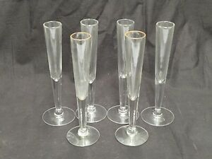 """LOT OF 6 FOOTED CLEAR GLASS BUD VASES 7"""" TALL"""
