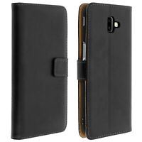 Flip wallet case, leather cover for Samsung Galaxy J6 Plus, standcase - Black