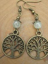 Prehnite Bronze Tree of Life Earrings Gemstones Crystals  Pagan Hedgewitch