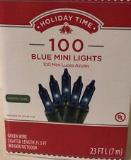 Holiday Time 100ct Blue Mini Christmas Lights Green Wire 23 Ft Indoor/Outdoor