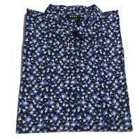 DKNY Mens Shirt Blue Size 2XL Button Down Floral Print Long Sleeve