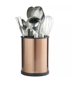 Utensil Holder Copper 18cm Rotating Stainless Steel Kitchen Storage